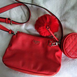 Bright Red GUESS Purse with Pom Pom